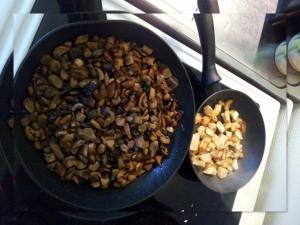 gebakken paddenstoelen